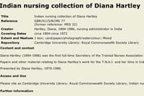Indian nursing collection of Diana Hartley