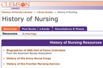 Clemson: History of Nursing